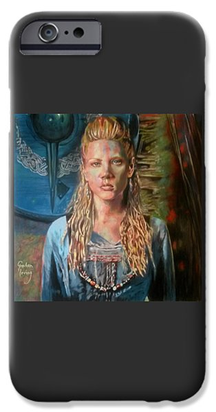 Norway Pastels iPhone Cases - Shield-maiden Lagertha iPhone Case by Gordon Irving