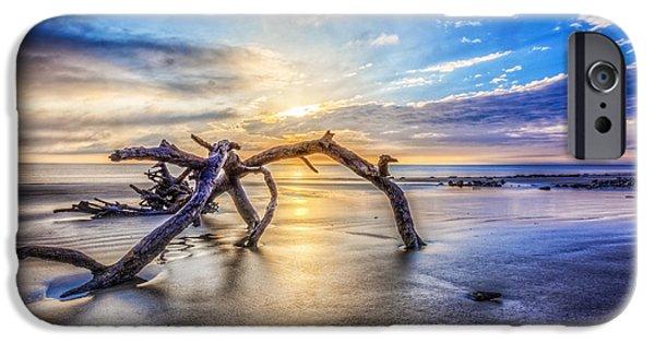 Ocean Sunset iPhone Cases - Shimmering Sands iPhone Case by Debra and Dave Vanderlaan