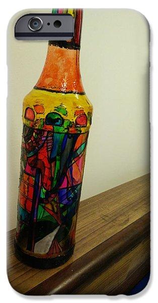Wine Bottle Glass Art iPhone Cases - Shining bottle iPhone Case by Nandini Deipakk