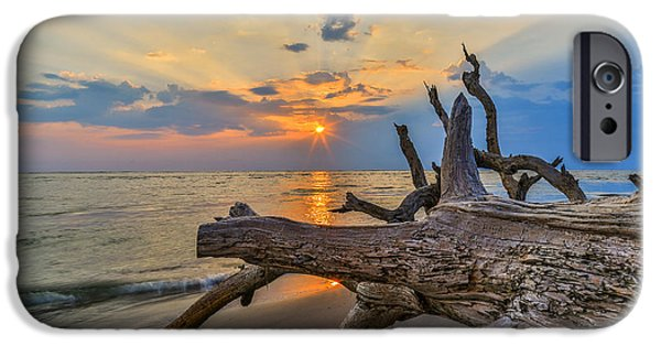 Beach Landscape iPhone Cases - Shining Through - Folly Beach SC iPhone Case by Donnie Whitaker