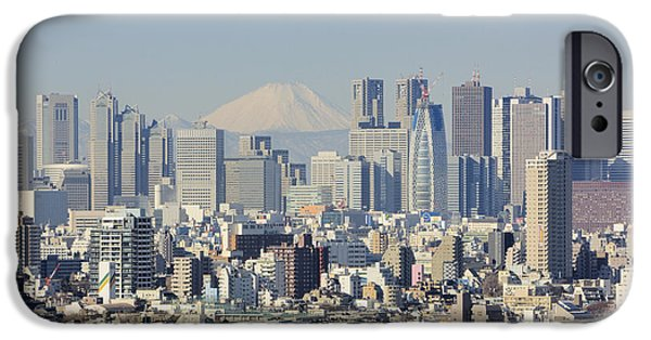 Shinjuku iPhone Cases - Shinjuku Skyline with Mt Fuji iPhone Case by Jeremy Woodhouse