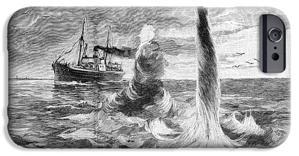 North Sea iPhone Cases - Ship And Waterspout, 19th Century iPhone Case by Spl