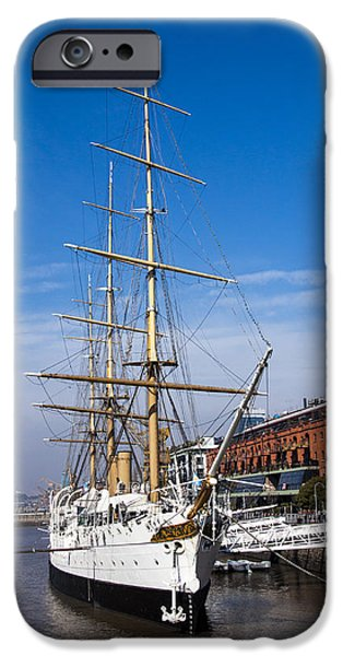 Pirate Ship iPhone Cases - Ship moored in harbor iPhone Case by Hernan Caputo