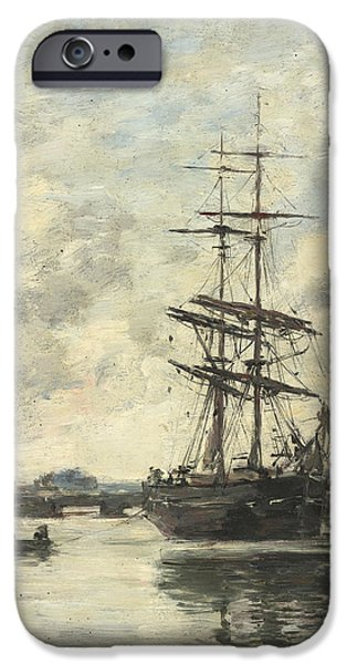 Pirate Ships Paintings iPhone Cases - Ship On The Touques iPhone Case by Eugene Boudin