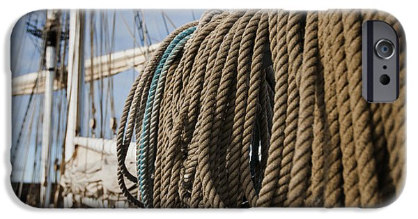 Tall Ship iPhone Cases - Ship ropes iPhone Case by MAK Imaging