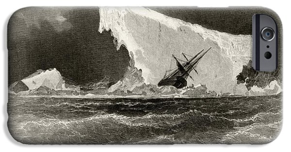 Arctic Drawings iPhone Cases - Ship Wrecked On Iceberg. Title iPhone Case by Ken Welsh