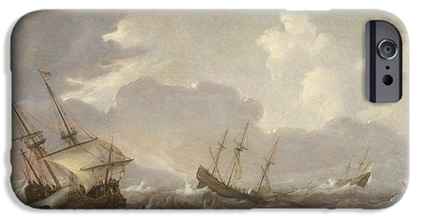 Sailboats In Water iPhone Cases - Shipping in the High Seas iPhone Case by Pieter the Elder Mulier