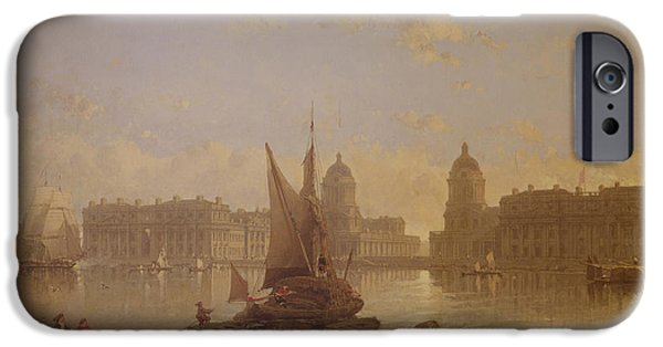 Nineteenth Paintings iPhone Cases - Shipping on the Thames at Greenwich iPhone Case by David Roberts