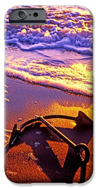 Lost iPhone Cases - Ships anchor on beach iPhone Case by Garry Gay