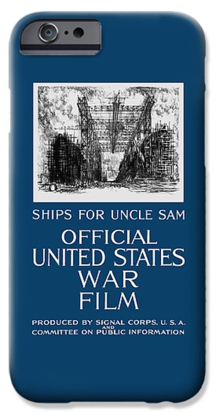 Wwi iPhone Cases - Ships For Uncle Sam - WW1 iPhone Case by War Is Hell Store
