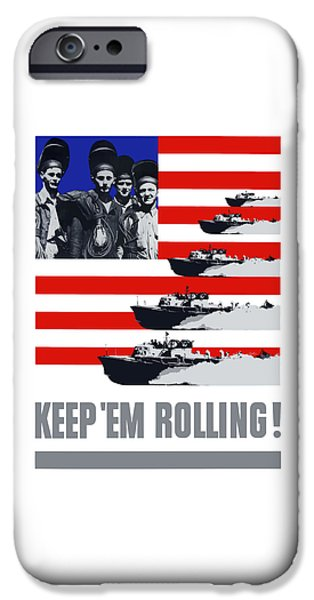 Patriotic Digital iPhone Cases - Ships -- Keep Em Rolling iPhone Case by War Is Hell Store
