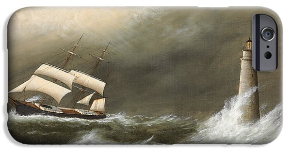 Storm Paintings iPhone Cases - Ships Passing Minots Light iPhone Case by Clement Drew