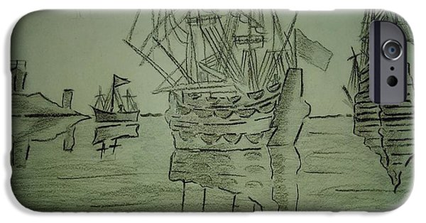 Pirate Ship Drawings iPhone Cases - Ships iPhone Case by Sagar Wayangawadekar