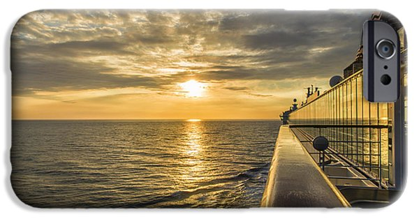 Norwegian Sunset iPhone Cases - Shipside Sunset iPhone Case by Bill Tiepelman