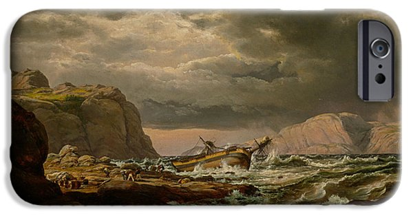 Norway Paintings iPhone Cases - Shipwreck on the Coast of Norway iPhone Case by Celestial Images