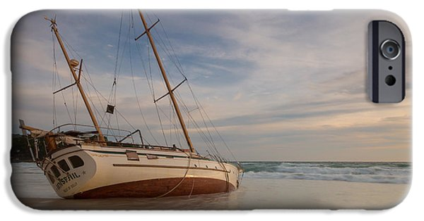 Sailboats iPhone Cases - Shipwrecked in Phuket iPhone Case by Chris Beasley Photography