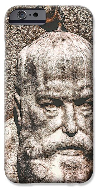 Statue Portrait iPhone Cases - Shithead iPhone Case by John Van Maris