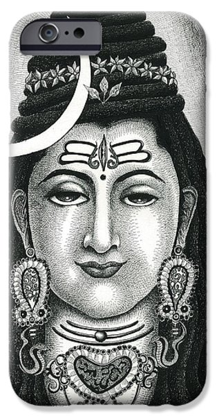 Religious Drawings iPhone Cases - Shiva iPhone Case by Alma Yo