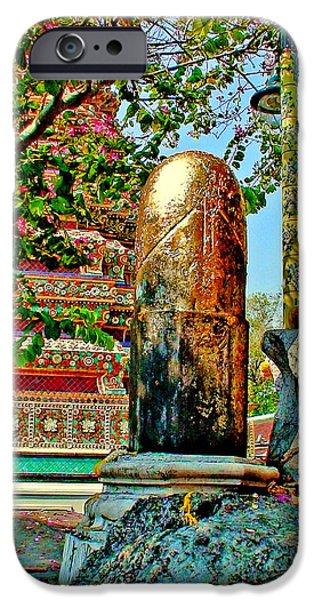 Muay Thai Digital Art iPhone Cases - Shiva linga. Wat Pho. Thailand.  iPhone Case by Andy Za