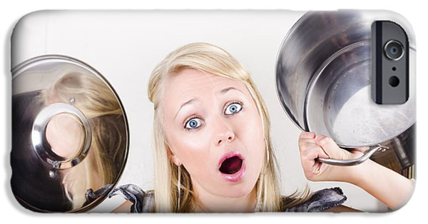 Dismay iPhone Cases - Shocked caucasian woman holding empty cooking pot iPhone Case by Ryan Jorgensen
