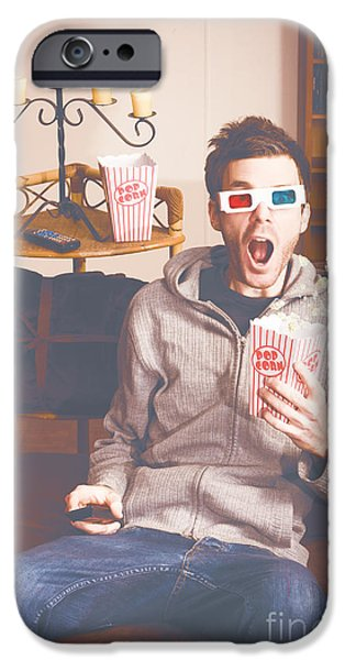 Pastel iPhone Cases - Shocked man watching 3d movie on home theater iPhone Case by Ryan Jorgensen