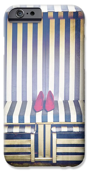 Stripes iPhone Cases - Shoes In A Beach Chair iPhone Case by Joana Kruse