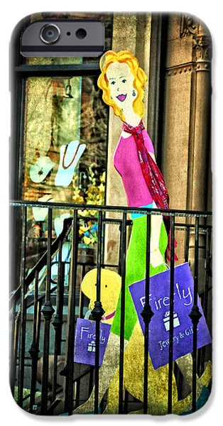 Boston Ma iPhone Cases - Shopping Newbury Street iPhone Case by Mike Martin