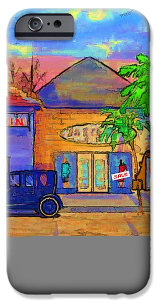 City Scape Digital Art iPhone Cases - Shopping Trio iPhone Case by Arline Wagner
