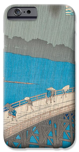 Storm Drawings iPhone Cases - Shower Over Ohashi Bridge iPhone Case by Hiroshige