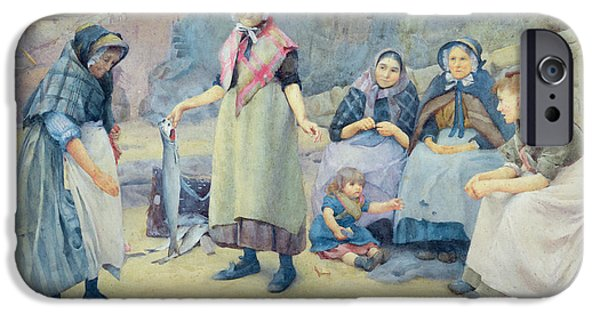 Apron iPhone Cases - Showing Fish iPhone Case by Thomas Cooper Gotch