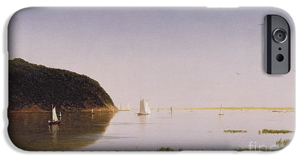 Kensett iPhone Cases - Shrewsbury River - New Jersey iPhone Case by John Frederick Kensett