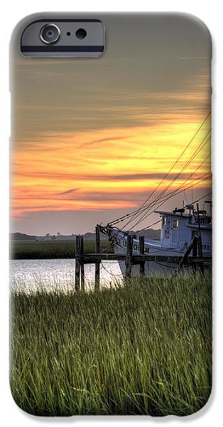 Nets iPhone Cases - Shrimp Boat Sunset iPhone Case by Dustin K Ryan