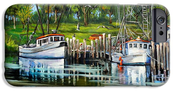 Boat iPhone Cases - Shrimping Boats iPhone Case by Dianne Parks