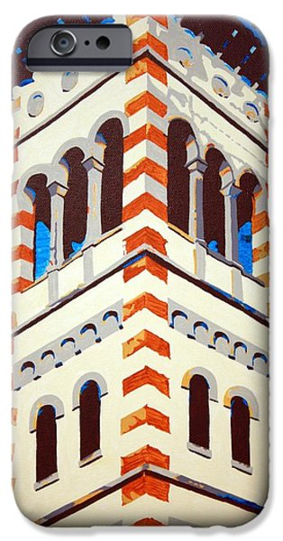 Church Pillars Paintings iPhone Cases - Shrine Bell Tower Detail iPhone Case by Sheri Parris
