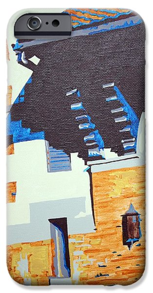 Church Pillars Paintings iPhone Cases - Shrine Corbels Detail iPhone Case by Sheri Parris