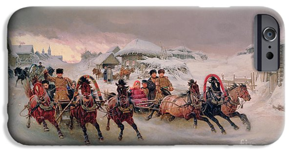 Winter Scenes iPhone Cases - Shrovetide iPhone Case by Petr Nicolaevich Gruzinsky