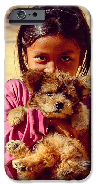 Cute Puppy iPhone Cases - Shy Girl With Puppy iPhone Case by Simon Garrad