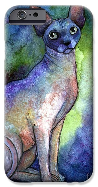Cat Drawings iPhone Cases - Shynx Cat 2 painting iPhone Case by Svetlana Novikova