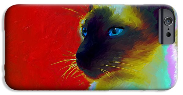 Cat Drawings iPhone Cases - Siamese Cat 10 Painting iPhone Case by Svetlana Novikova