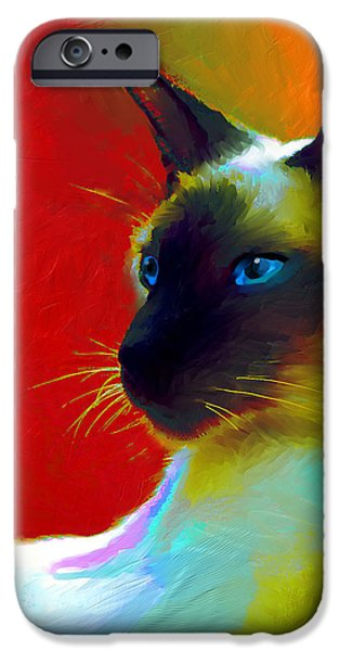 siamese cat 10 painting iPhone Case by Svetlana Novikova