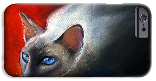 Animal Pastels iPhone Cases - Siamese Cat 7 Painting iPhone Case by Svetlana Novikova
