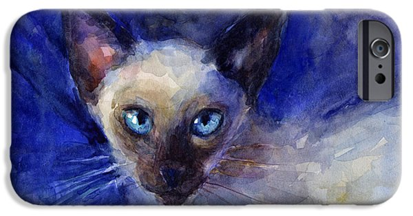 Animal Drawings iPhone Cases - Siamese Cat  iPhone Case by Svetlana Novikova