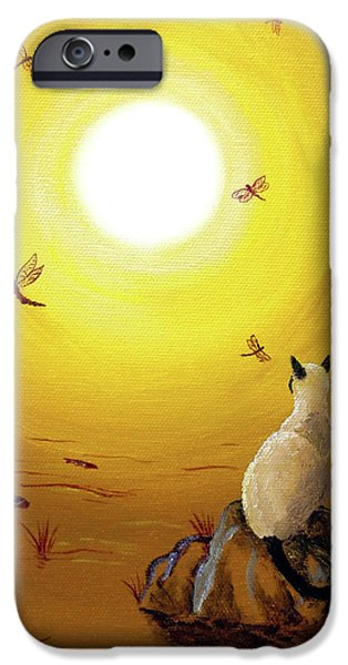 Koi Paintings iPhone Cases - Siamese Cat with Red Dragonflies iPhone Case by Laura Iverson