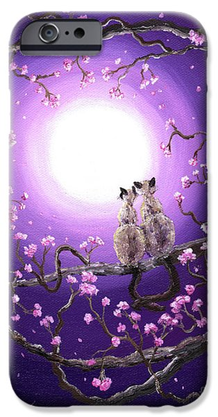 Cherry Blossoms iPhone Cases - Siamese Cats in Pink Blossoms iPhone Case by Laura Iverson