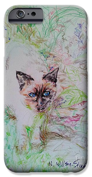 Pathway iPhone Cases - Siamese In The Garden iPhone Case by N Willson-Strader
