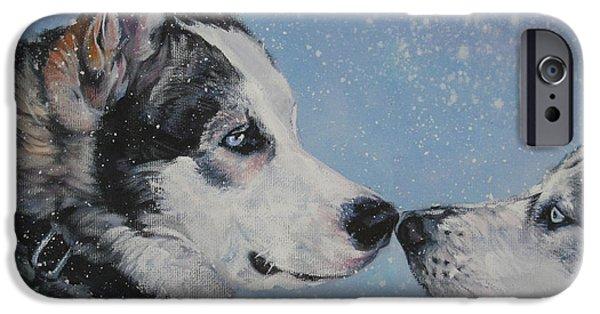 Huskies Paintings iPhone Cases - Siberian Huskies in snow iPhone Case by Lee Ann Shepard