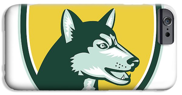Huskies Digital Art iPhone Cases - Siberian Husky Dog Head Crest Retro iPhone Case by Aloysius Patrimonio