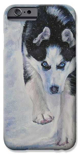 Siberian Husky run iPhone Case by Lee Ann Shepard
