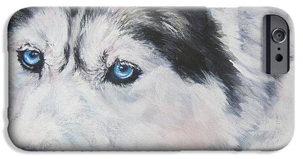 Huskies iPhone Cases - Siberian Husky up close iPhone Case by L A Shepard