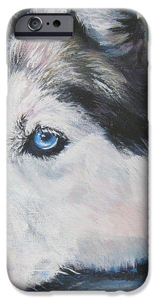 Siberian Husky up close iPhone Case by L A Shepard